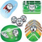 Sistema de balones de fútbol de la vida stock de ilustración