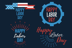 Sistema de bandera y de giftcard felices del Día del Trabajo Fotos de archivo libres de regalías