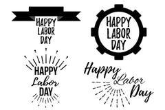 Sistema de bandera y de giftcard felices del Día del Trabajo Fotografía de archivo libre de regalías