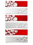 Sistema de banderas abstractas con los corazones Fotos de archivo libres de regalías