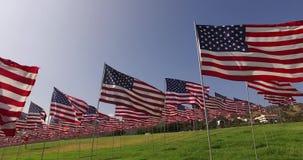 Sistema de banderas americanas que agitan en el viento en Memorial Day Los Ángeles, California, los E metrajes