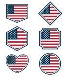 Sistema de banderas americanas y de hearts3 Imágenes de archivo libres de regalías