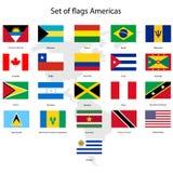 Sistema de banderas americanas y del mapa Fotos de archivo