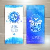Sistema de banderas azules del verano de la acuarela Fotografía de archivo libre de regalías