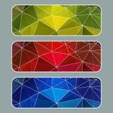 Sistema de banderas coloreadas con el fondo poligonal Movimiento blanco Vector Fotos de archivo libres de regalías