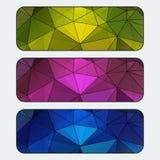 Sistema de banderas coloreadas con el fondo poligonal Movimiento negro Vector€ Fotografía de archivo