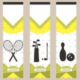 Sistema de banderas coloridas de los deportes en el estilo del minimalismo plano para los sitios web comerciales Tenis, golf y bo libre illustration