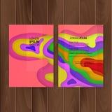 Sistema de banderas coloridas, tamaño de a4, decoración con diseño del corte del papel Ilustración del vector stock de ilustración