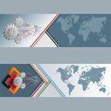 Sistema de banderas con el mapa del mundo, las ruedas dentadas, los cuadrados y los circuitos electrónicos stock de ilustración
