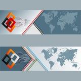 Sistema de banderas con el mapa del mundo, los cuadrados y los circuitos electrónicos Fotos de archivo libres de regalías