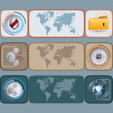 Sistema de banderas con el mapa del mundo y diversos elementos tehnological/del ordenador Foto de archivo