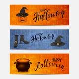 Sistema de banderas con feliz Halloween de las letras Foto de archivo libre de regalías