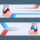 Sistema de banderas con la hucha, el rollo del dinero y el escudo de la seguridad Fotos de archivo libres de regalías