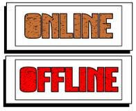 Sistema de banderas con las palabras en línea y de off-line aislados Fotografía de archivo libre de regalías