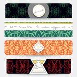 Sistema de 4 banderas con los modelos geométricos businnes Fotos de archivo