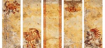 Sistema de banderas con los modelos tradicionales indios americanos Imagen de archivo