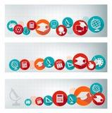 Sistema de banderas de la educación con los iconos stock de ilustración