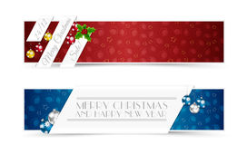 Sistema de banderas de la Navidad ilustración del vector