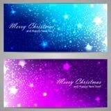 Sistema de banderas de la Navidad con las estrellas y las chispas Imagen de archivo libre de regalías