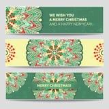 Sistema de banderas de la Navidad del invierno del vector Ejemplo estilizado de la mandala con muchos detalles Foto de archivo libre de regalías