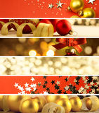 Sistema de banderas de la Navidad - fondo de las decoraciones Fotos de archivo