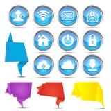 Sistema de banderas de la papiroflexia con los iconos del Web Imagenes de archivo