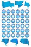 Sistema de banderas de la papiroflexia con los iconos del Web Imágenes de archivo libres de regalías