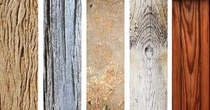 Sistema de banderas de madera con vieja textura de madera Foto de archivo libre de regalías