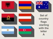 Sistema de banderas de país de A Imágenes de archivo libres de regalías