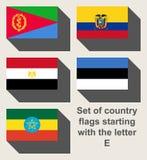 Sistema de banderas de país que miran fijamente con E Foto de archivo libre de regalías