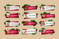 Sistema de banderas del Año Nuevo del vector Imágenes de archivo libres de regalías