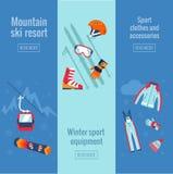 Sistema de banderas del deporte de invierno Fotografía de archivo libre de regalías