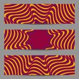 Sistema de banderas del diseño moderno, plantilla de los jefes con 3d el volumen abstracto rayado, fondo diagonal ondulado del mo Foto de archivo libre de regalías
