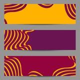Sistema de banderas del diseño moderno, plantilla de los jefes con 3d el volumen abstracto rayado, fondo diagonal ondulado del mo Fotos de archivo libres de regalías