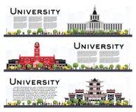 Sistema de banderas del estudio del campus universitario aisladas en blanco ilustración del vector