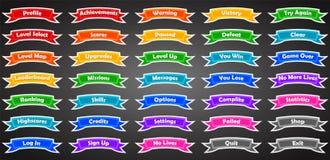 Sistema de banderas del juego del texto en estilo plano Imagen de archivo libre de regalías