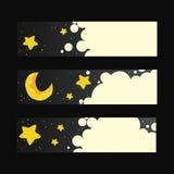 Sistema de banderas del vector con noche Imágenes de archivo libres de regalías