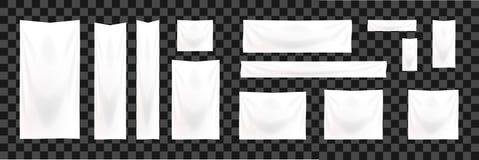 Sistema de banderas del web del tamaño estándar Plantilla blanca de la bandera de la materia textil de la plantilla vertical, hor fotografía de archivo