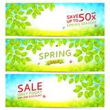 Sistema de banderas elegantes de la venta de la primavera stock de ilustración