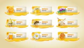 Sistema de banderas enmeladas dulces del vector Fotografía de archivo libre de regalías