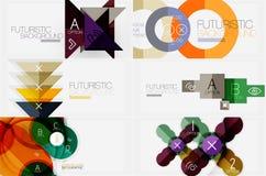 Sistema de banderas geométricas minimalistic con los triángulos y círculos y otras formas Lema del diseño web o del negocio ilustración del vector