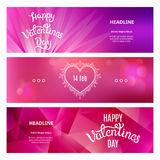 Sistema de banderas hermosas el día de tarjeta del día de San Valentín del St Fotografía de archivo