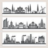 Sistema de banderas horizontales con los ejemplos monocromáticos de paisajes urbanos Silueta de edificios modernos libre illustration
