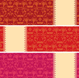 Sistema de banderas horizontales de la libélula floral oriental clásica ilustración del vector