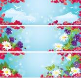 Sistema de banderas horizontales del día del ` s de la tarjeta del día de San Valentín con rojo Imagenes de archivo