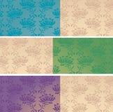 Sistema de banderas horizontales del estampado de flores oriental libre illustration