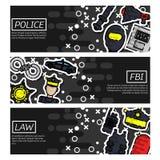 Sistema de banderas horizontales sobre policía ilustración del vector
