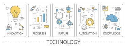 Sistema de banderas de la vertical de la tecnología ilustración del vector