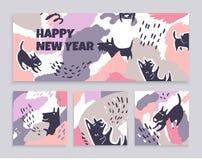 Sistema de banderas de las tarjetas del arte con los perros ilustración del vector