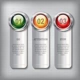 Sistema de banderas metálicas con los botones brillantes redondos Imagen de archivo libre de regalías